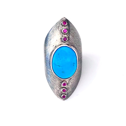 Ruby and Turquoise Silver Textured Statement Ring