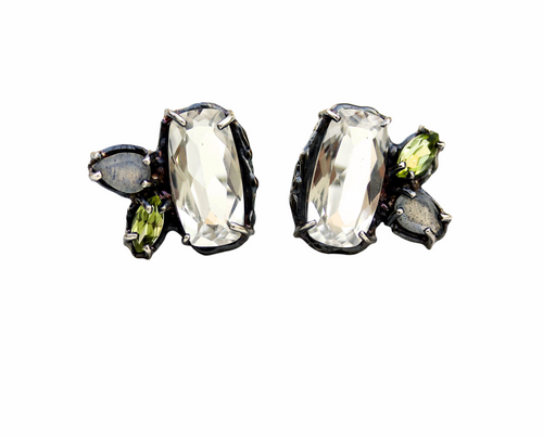 Ophelia Earrings set with White Topaz, Peridot and Labrodorite