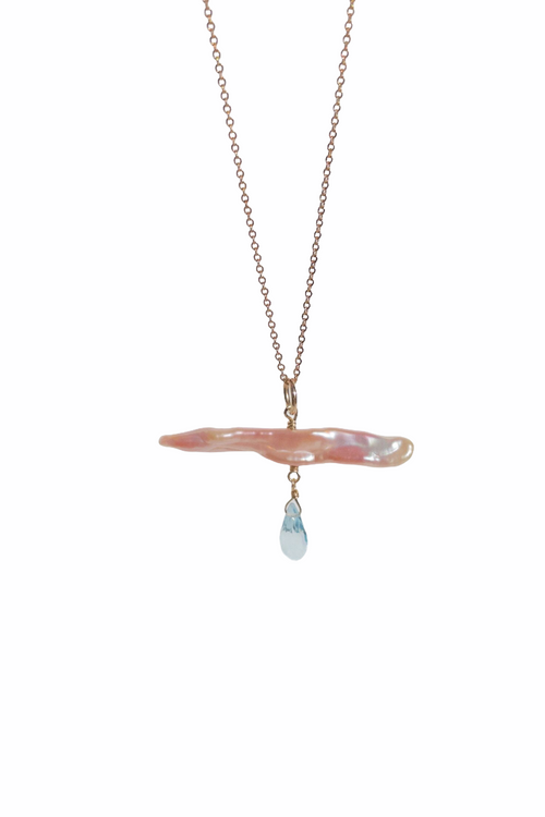 Comet Necklace with Blue Topaz