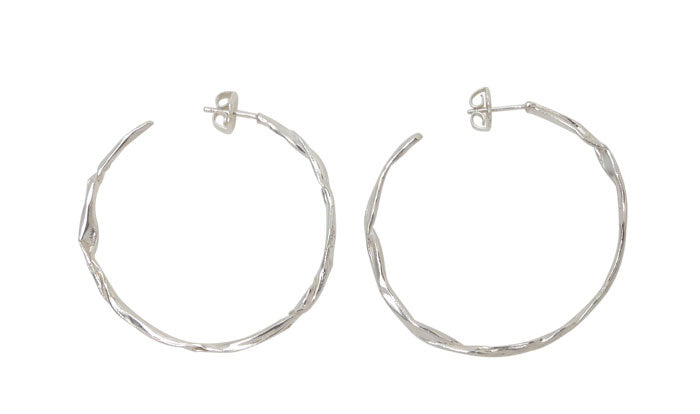 FOLD Stationary Hoop Earrings in Matted Sterling Silver