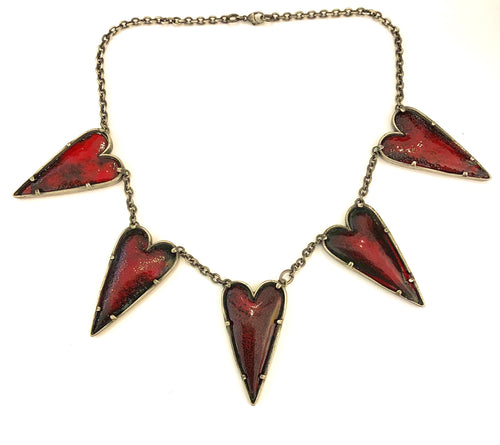 Edgy 5 Pointy Red Heart Necklace