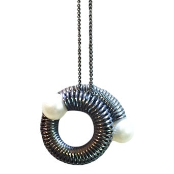 Pearl Inversion Necklace in Oxidized Silver