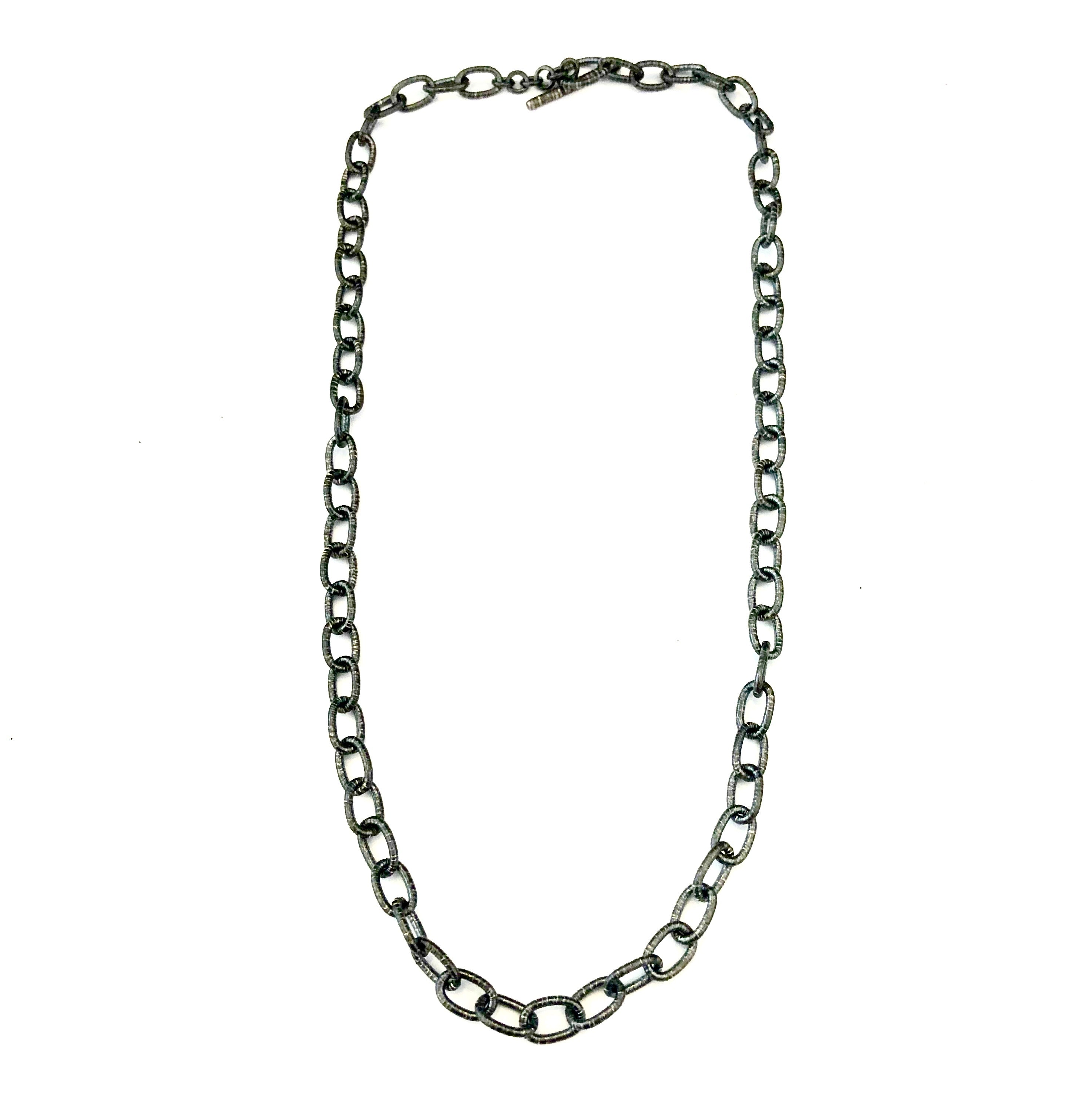 Small Textured Handmade Oval Silver Link Chain