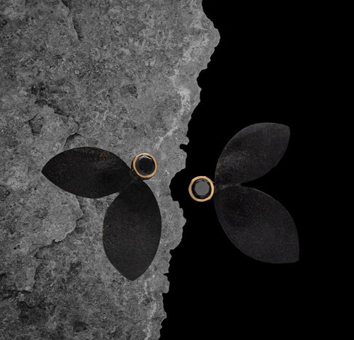 Oxidized Double Leaf Studs with Black Diamonds