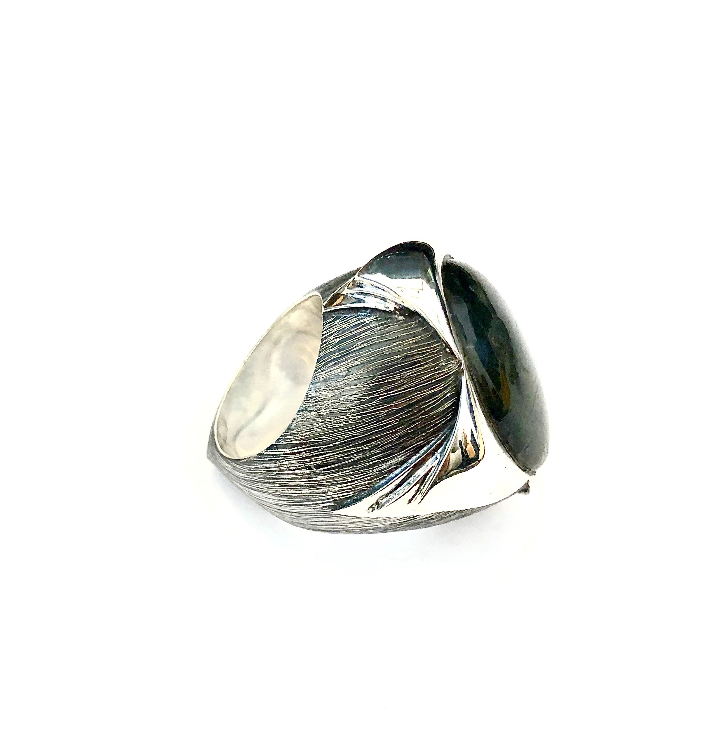 Serendipity Labradorite Ring with Polished Pedals and Etched Texture in Sterling Silver