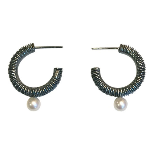 Pearl Hoops in Oxidized Silver