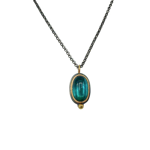 Large Brazilian Indicolite Tourmaline Cabochon Necklace with 18k Gold on Oxidized Sterling Silver Chain