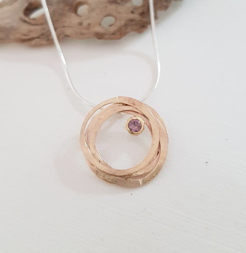 9K Gold  Wrap Pendant with Pink Sapphire
