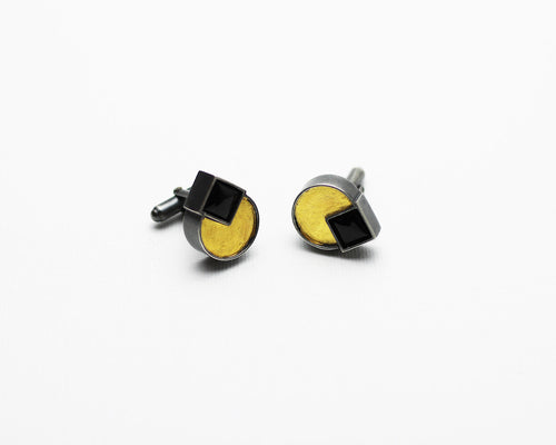 Silver and Gold Cuff links with onyx gemstones