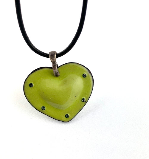 Fearless Heart Green Enamel Pendant
