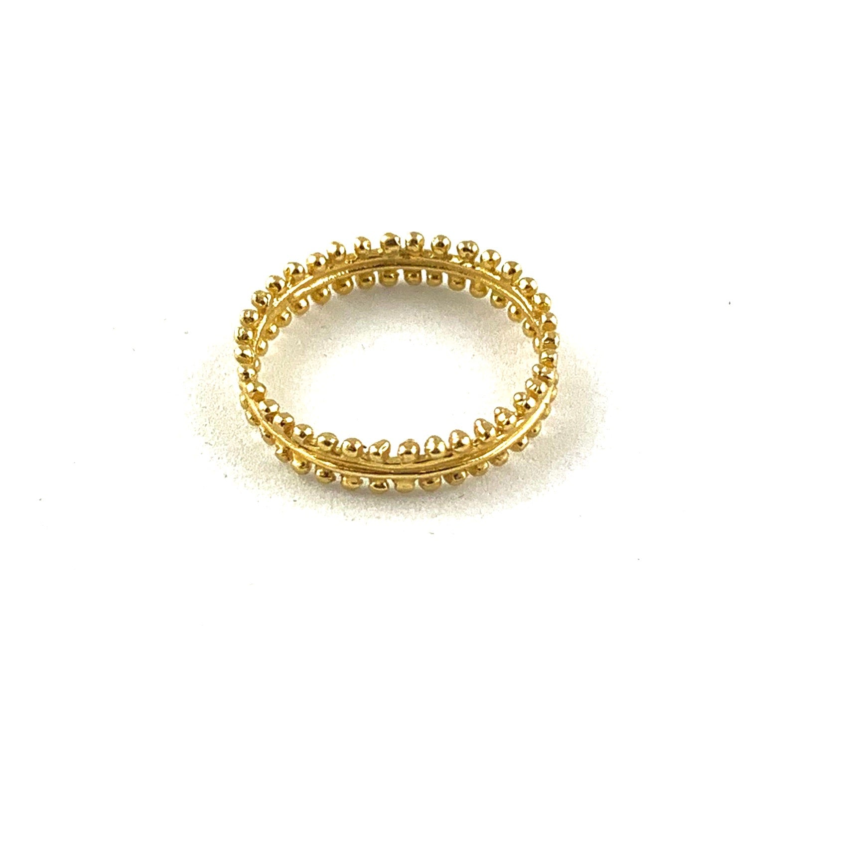 Simple Beaded Band in 18K Gold