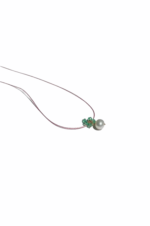 Flower Necklace with Emerald