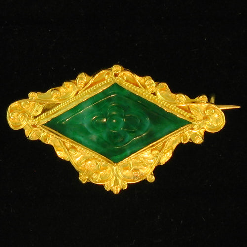 Estate Carved Green Jade set in 24k yellow gold