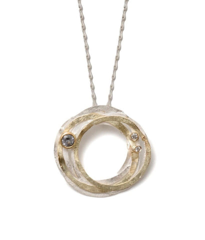 Argentium Silver Patinated Curly Pod Necklace with double 18k gold chain and 9 diamonds
