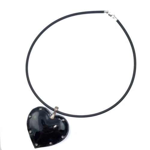 Fearless Heart Black Enamel Pendant