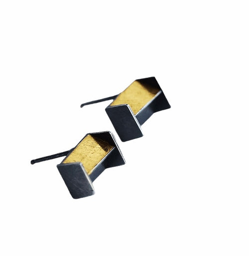 24k Gold Architectural Stud Earrings