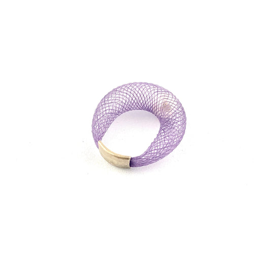 Dyed Nylon Faux White Pearl Ring