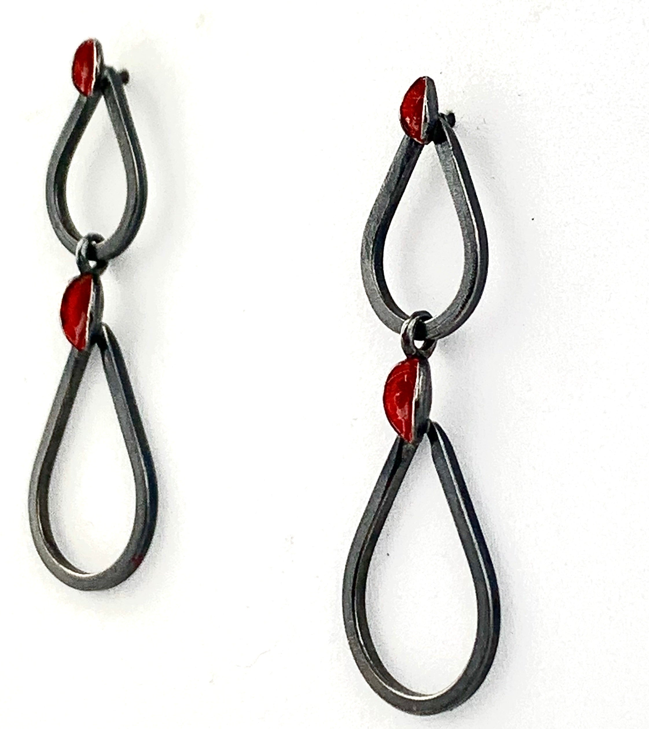 Red Enamel Paint Link Earrings