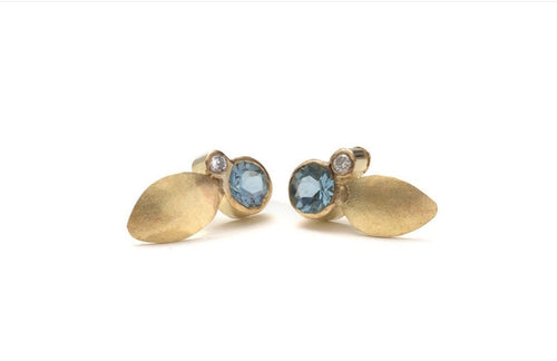 14kt Gold Leaf Studs with Blue Topaz and Diamonds