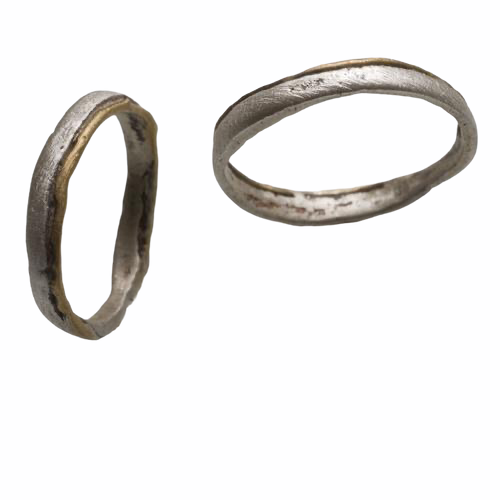 Path Ring in Solid 22k gold and Silver band