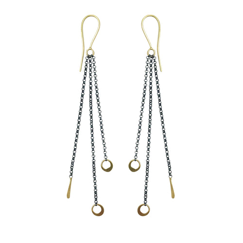 18k gold on oxidized chain drop earrings
