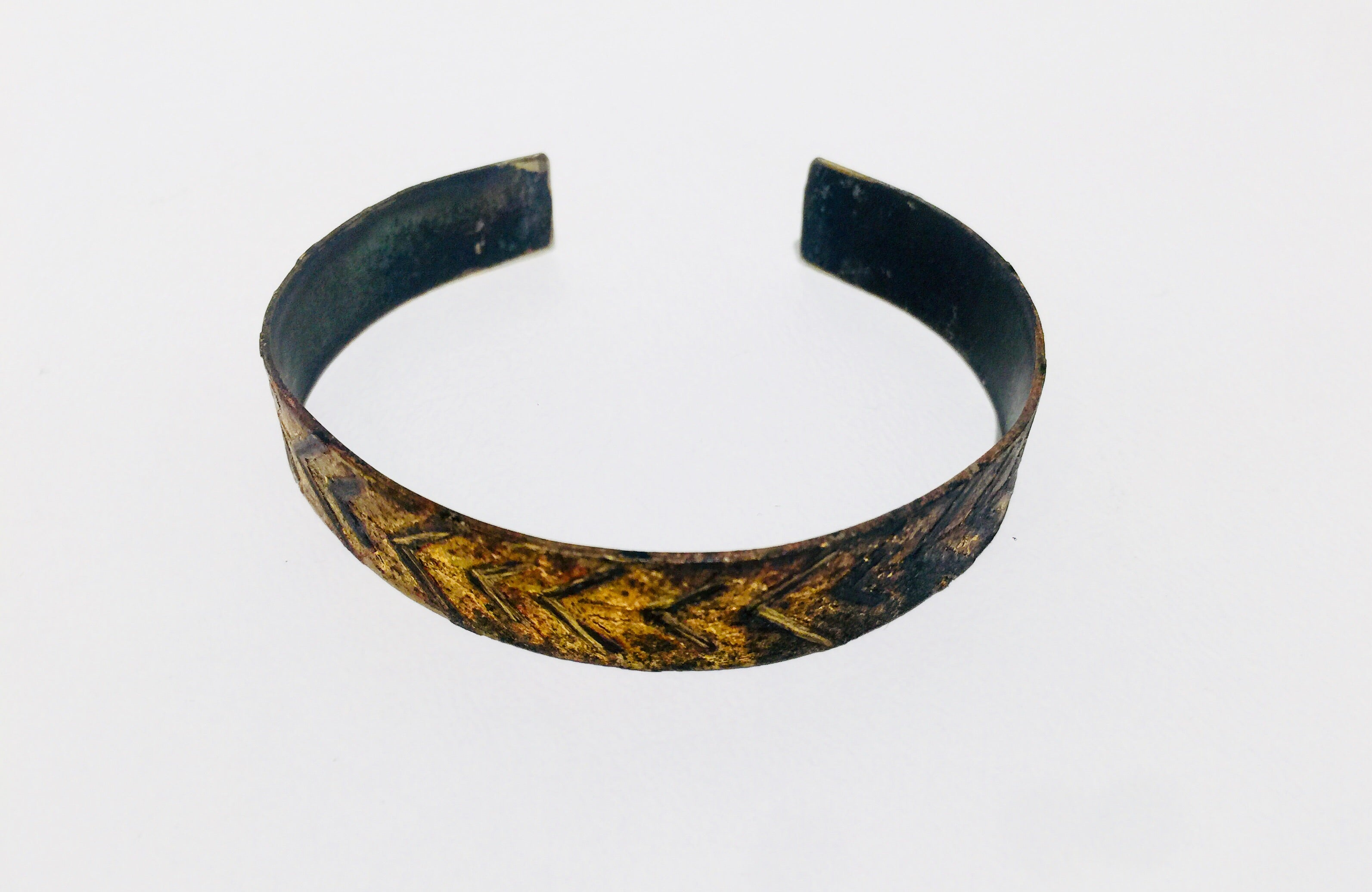 Bronze and Etched Cuff Bracelet Narrow
