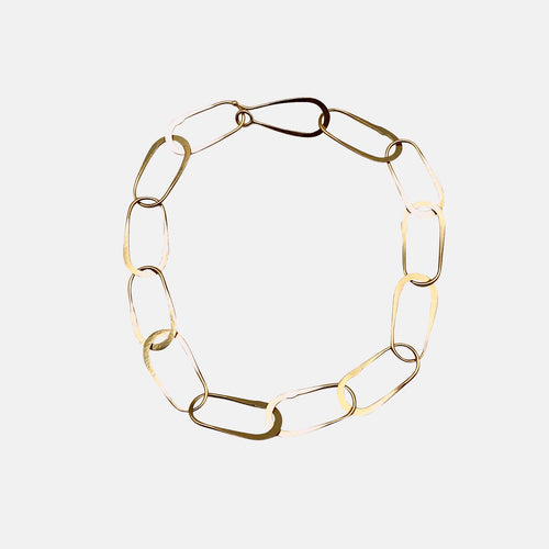 18k Gold Handmade Aria Oval Links Chain Bracelet