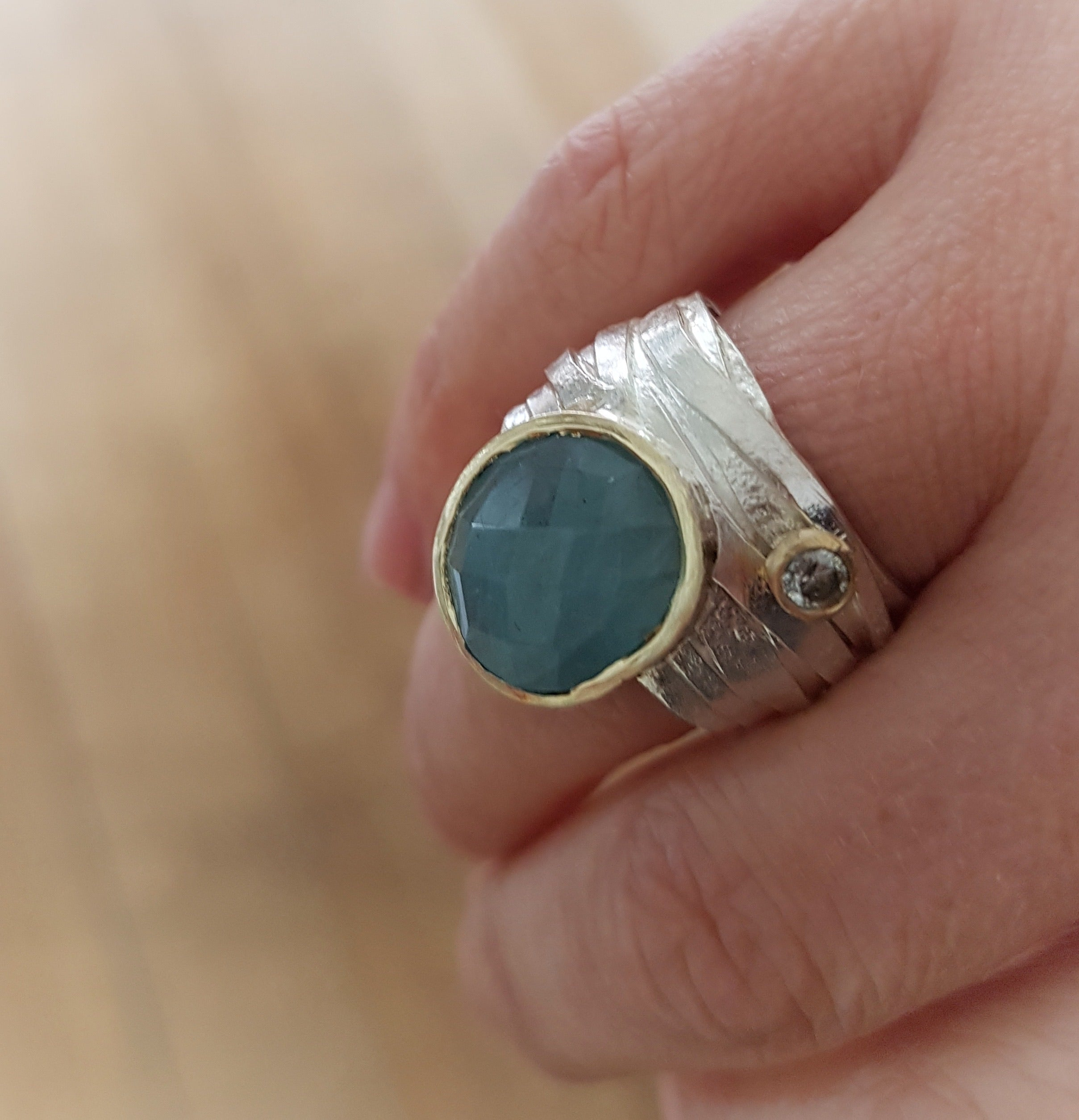 Silver and Gold Wrap Rough Aquamarine Ring