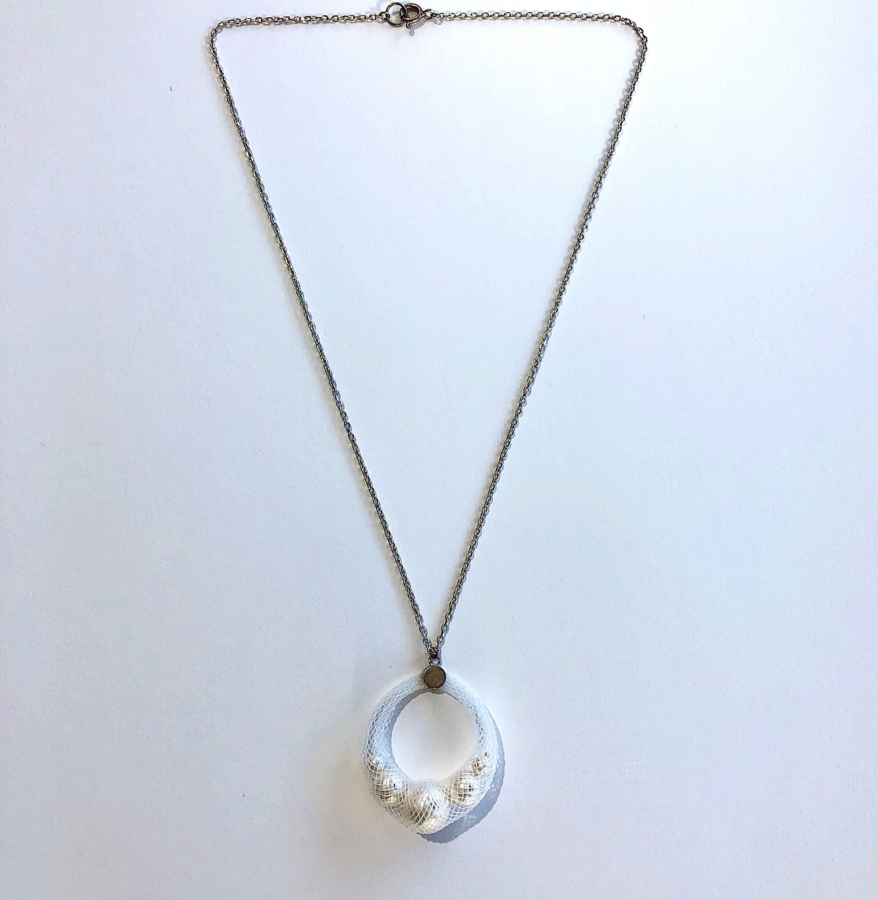 White Dyed nylon mesh and Swarovski Pearls with sterling silver chain