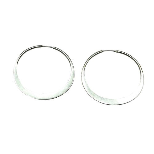 Sterling Silver Hand Forged Hoops