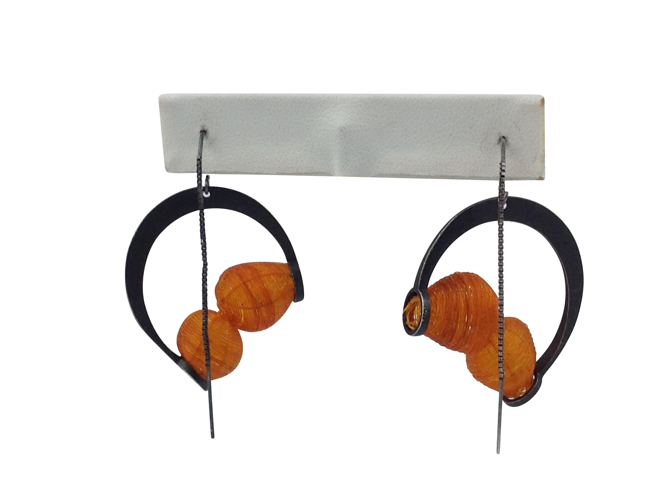 Orange Globo Threader Earring