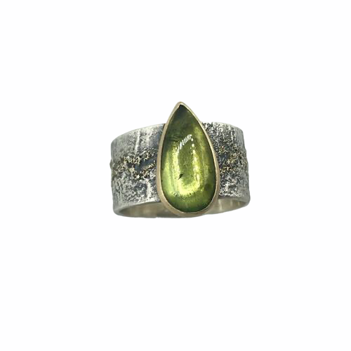 Brazilian Bright Moss Green Tourmaline Ring