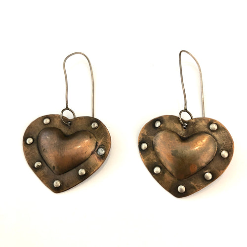 Copper Fearless Heart Earrings