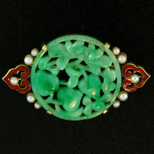 Estate Carved Green Jade Disc with Pearls and Enamel set in 14k yellow gold