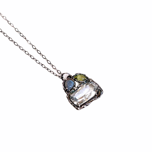 Ophelia Single Drop Necklace set with White Topaz, Peridot and Labrodorite