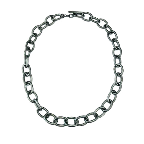 "Medium Textured Oval Silver Link Chain 24"" Handmade"