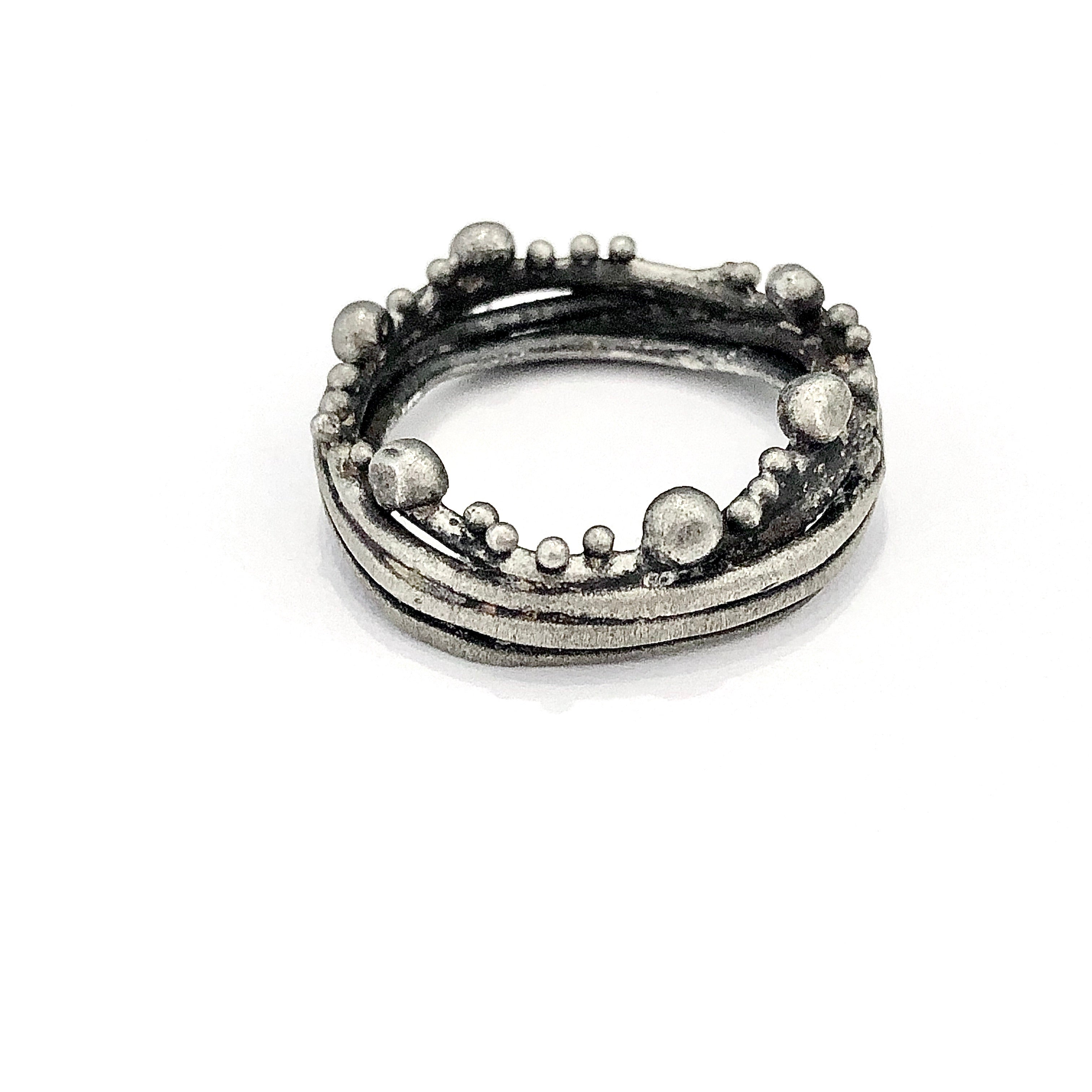Oxidized Sterling Silver Branch Ring With Pebbles Lireille