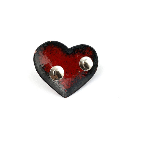 Red Enamel Fearless Heart Pin or Brooch