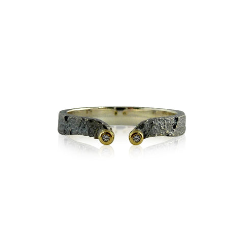 Canary Yellow and White Diamond Kinetic Ring