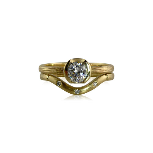 Sequoia Contour Gold Diamond Band