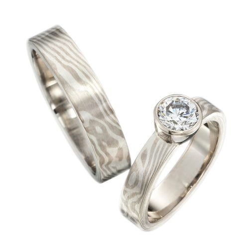 Woodgrain Pattern Mokume Gane Solitaire Diamond Engagement Ring