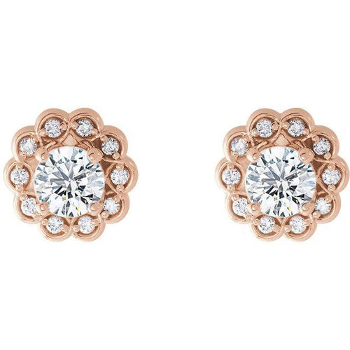 Vintage Inspired Feminine 14k Gold Diamond Halo-Style Earrings