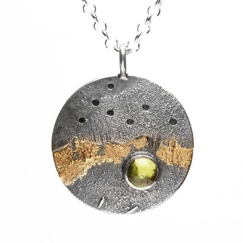 Textured two tone pendant with Peridot
