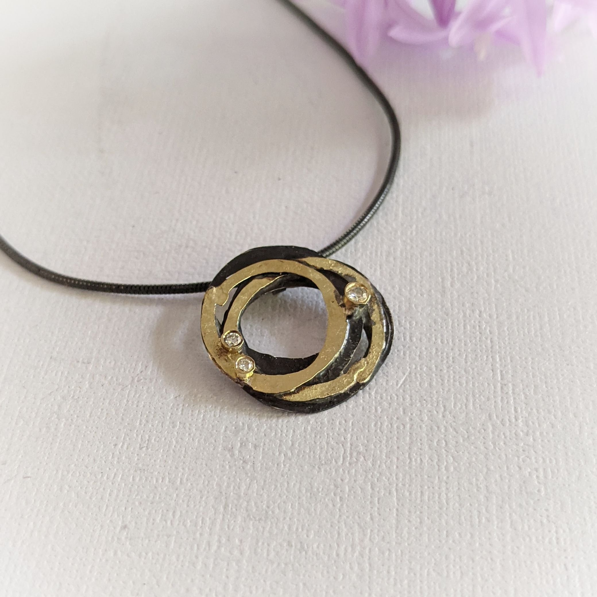 Oxidized Silver and Gold Wrap Pendant with 3 Various Size Diamonds