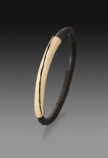 14k gold and oxidized steel wrap ring