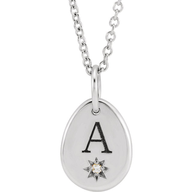 "Engravable Charm Pendant set with 0.005 CT Diamond Pear Starburst 16-18"" Necklace"