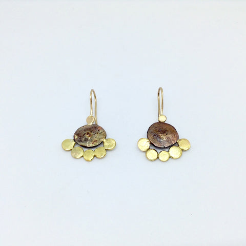 18k Gold Oxidized Acorn Cup Wrap Stud Earrings