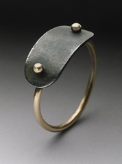 Plate Ring in 14k gold and Steel Plate