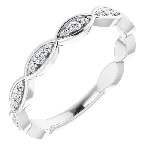 14K Platinum Lab Grown Diamond Infinity-Inspired Wedding Band
