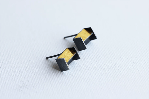 24k Gold Architectural Stud Earrings - Lireille